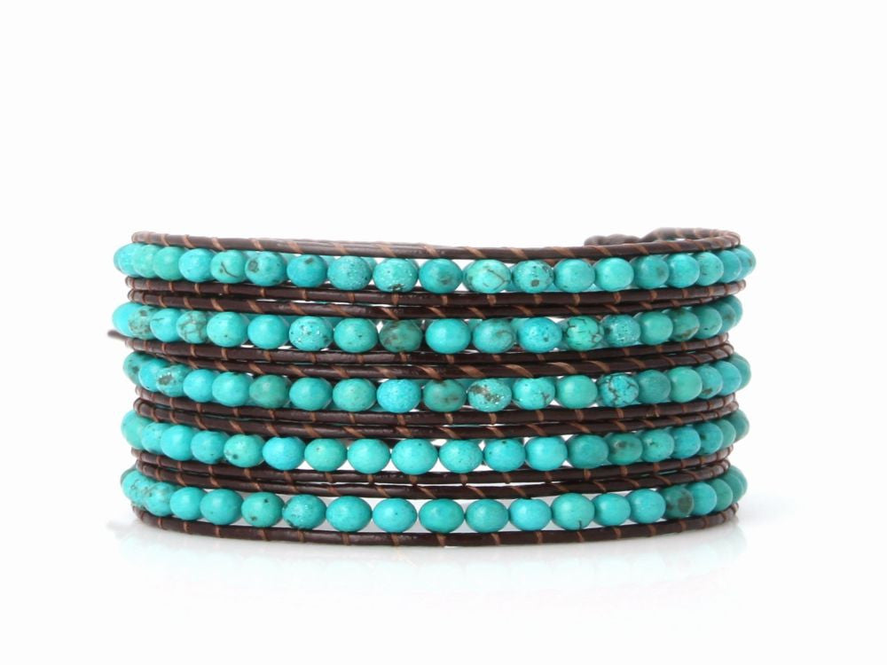 Wrap Bracelet Turquoise on Black Leather