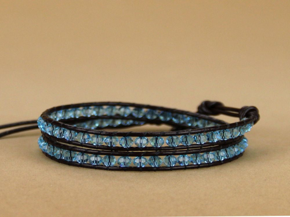 Wrap Leather 2 layer 4MM Blue Crystal Bracelet - Essentially Silver Jewelry