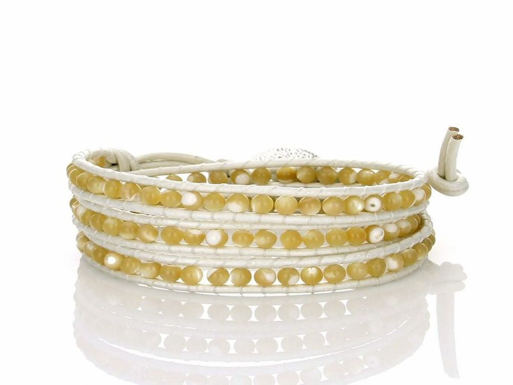 Wrap Mother of Pearl bead On Metallic White Leather Bracelet - Essentially Silver Jewelry