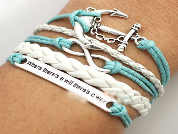 Silver Alloy Anchor Leather Suede Infinity Bracelet