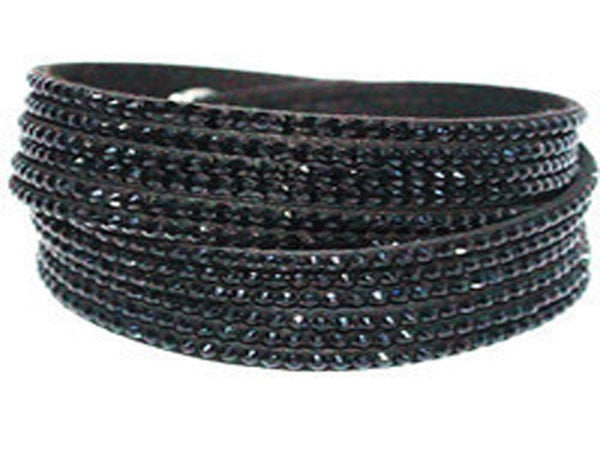 Multi-Layer Leather Crystal Bracelet - Essentially Silver Jewelry