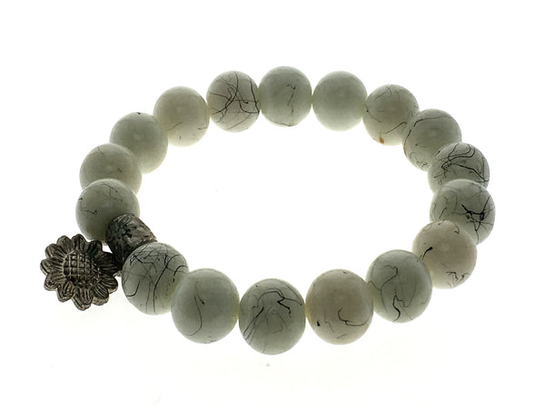 Stone Ball 10mm Sunflower Pendant Bracelet - Essentially Silver Jewelry