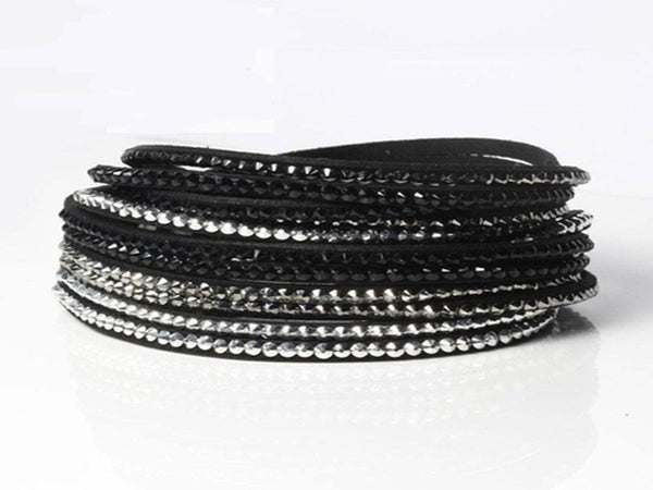 Multi-Layer Leather Crystal White & Black Bracelet - Essentially Silver Jewelry