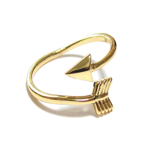 Gold Plated Arrow Wrap Sterling Silver Midi Ring - Essentially Silver Jewelry