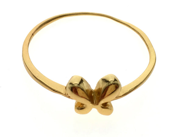 Gold Plated Bow .925 Sterling Silver Ring
