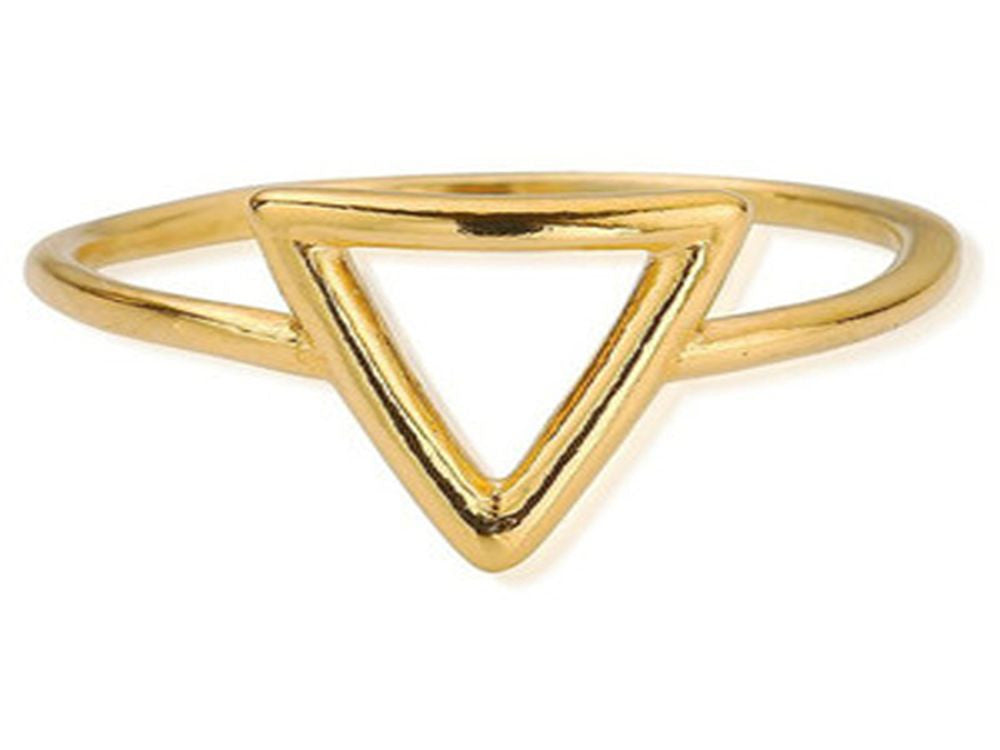 Gold Plated Midi Triangle .925 Sterling Silver Ring - Essentially Silver Jewelry