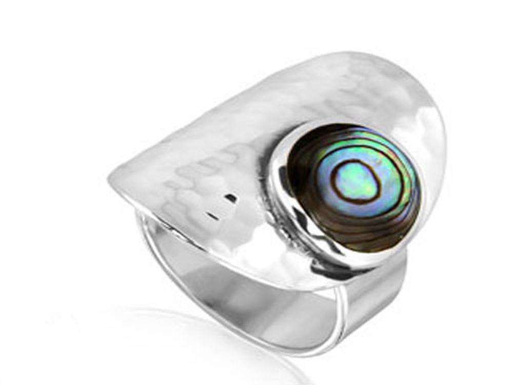 Paua Beaten Sterling Silver Ring - Essentially Silver Jewelry