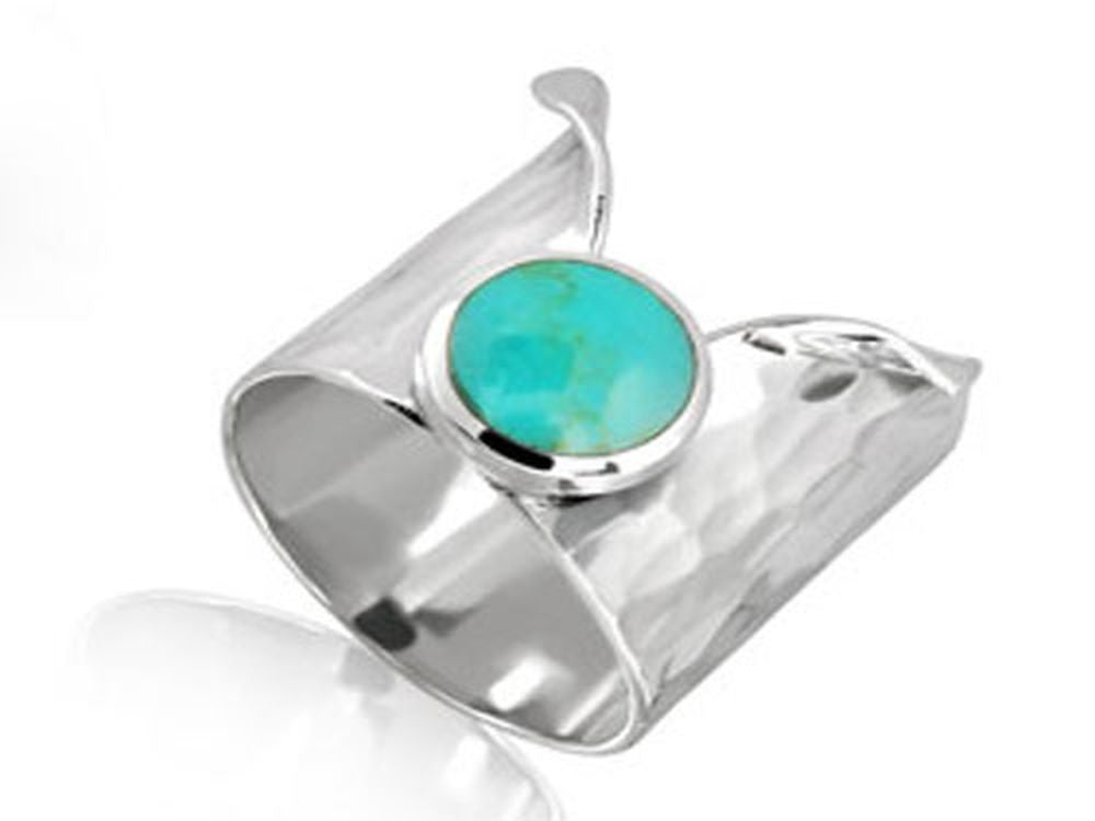 Beaten Turquoise Open Sterling Silver Ring - Essentially Silver Jewelry