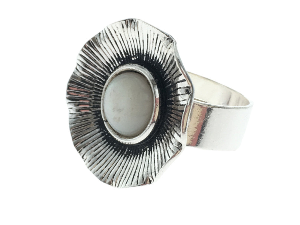 Mother of Pearl Sterling Silver Flower Ring - Essentially Silver Jewelry