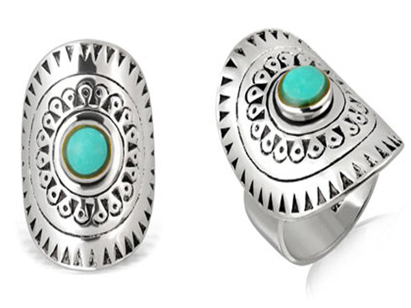 Bohemian Turquoise Sterling Silver Ring - Essentially Silver Jewelry