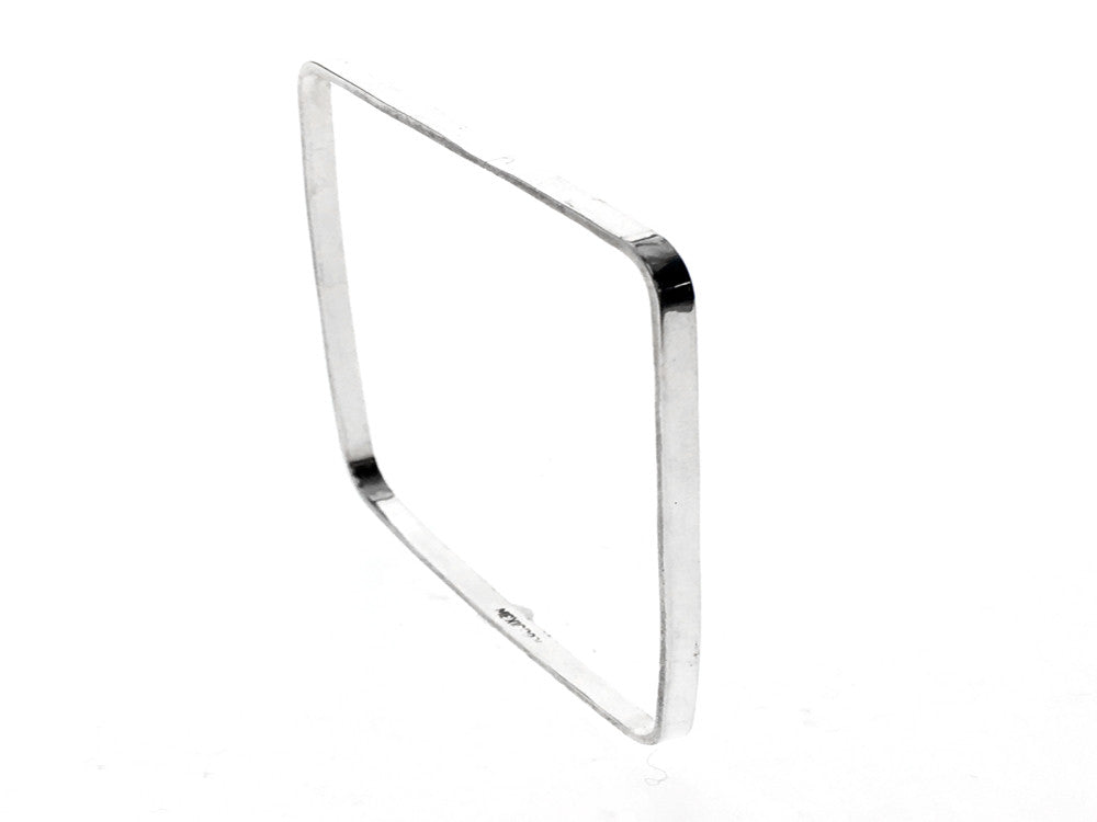Square 3mm Plain Sterling Silver Bangle - Essentially Silver Jewelry