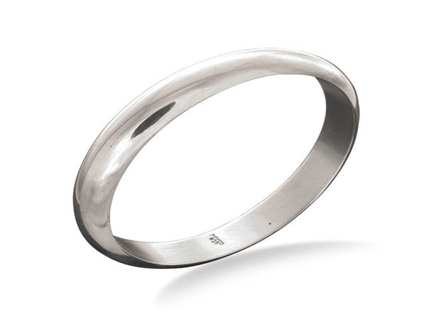 Half Moon 10mm Flat Inner Sterling Silver Bangle
