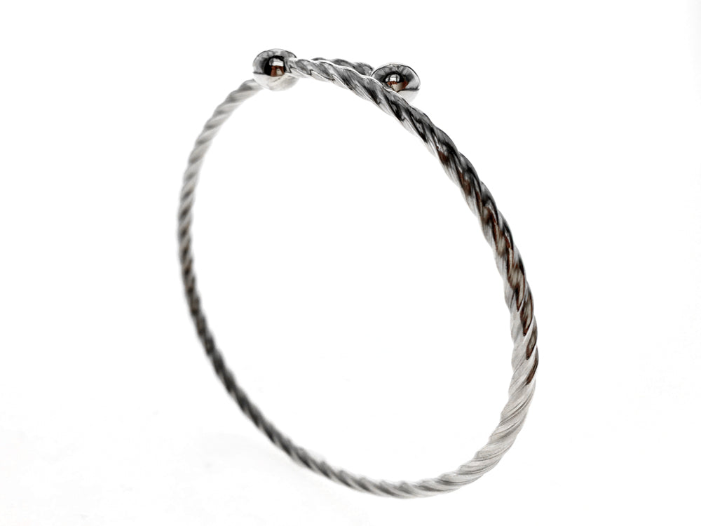 Swirled Sterling Silver Bangle Ball Ends - Essentially Silver Jewelry