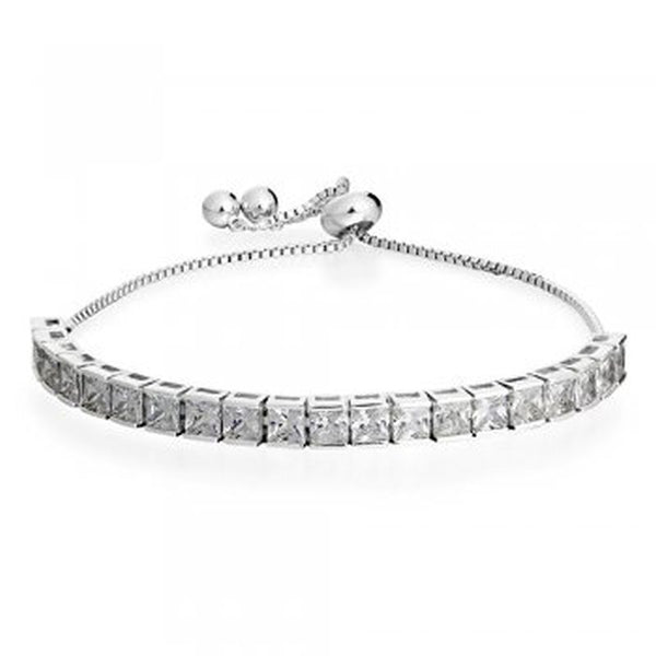 Square Stone Rhodium Plated Bracelet