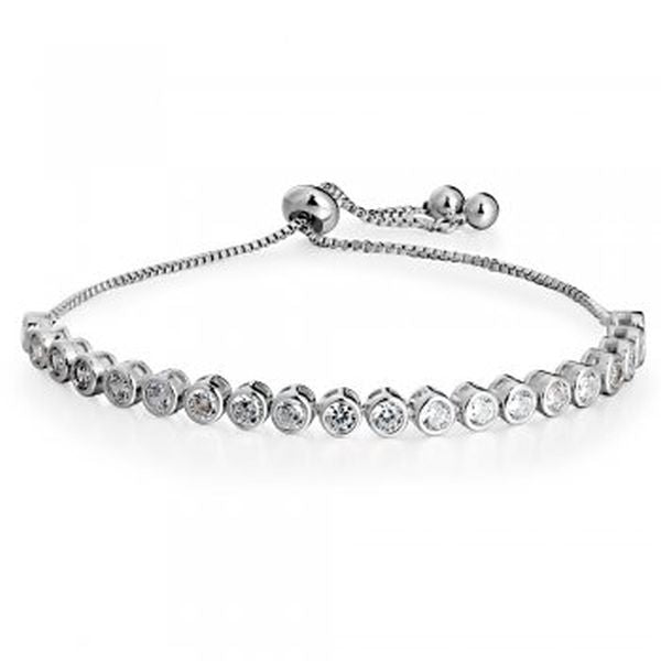 Circular stone Bracelet Rhodium plated - Essentially Silver Jewelry