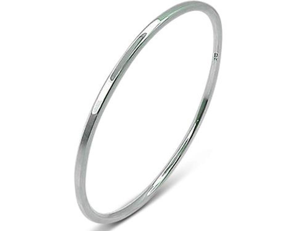 Square Edged 2.5 mm Sterling Silver Bangle - Essentially Silver Jewelry