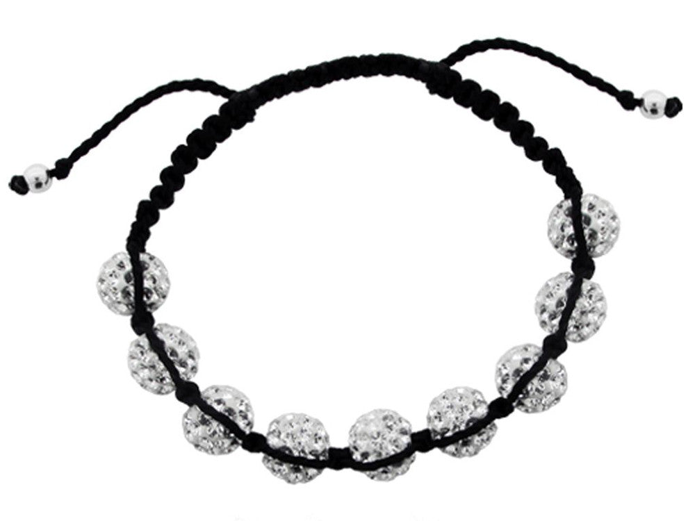 Crystal Shamballa Bracelet 10mm 9 Ball - Essentially Silver Jewelry