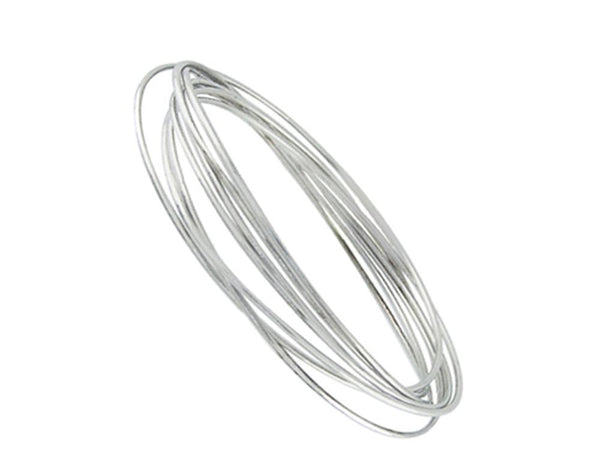 7 Ring Russian Wedder Sterling Silver Bangle - Essentially Silver Jewelry