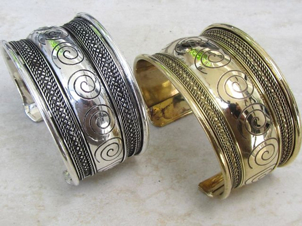Brass Gold Scroll Cuff - Essentially Silver Jewelry