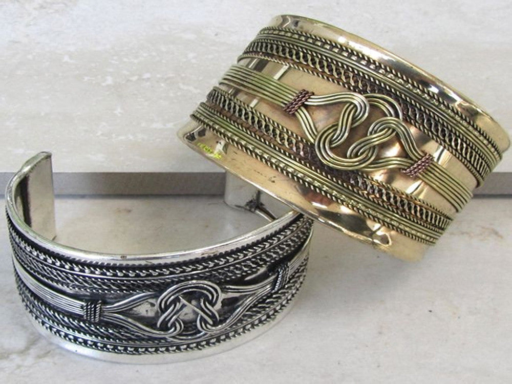 Brass Emblem Front Cuff - Essentially Silver Jewelry
