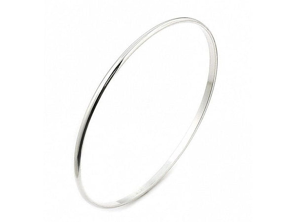 Half moon 2mm Flat inner Sterling Silver Bangle - Essentially Silver Jewelry