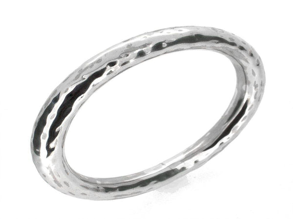 Beaten 10mm Round Sterling Silver Bangle