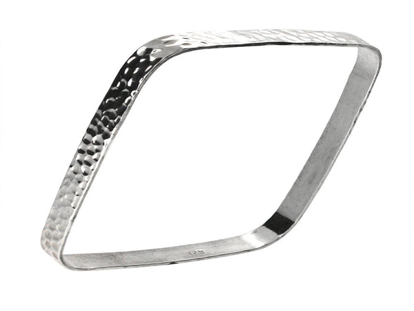 Beaten Square Flat 5mm Sterling Silver Bangle - Essentially Silver Jewelry