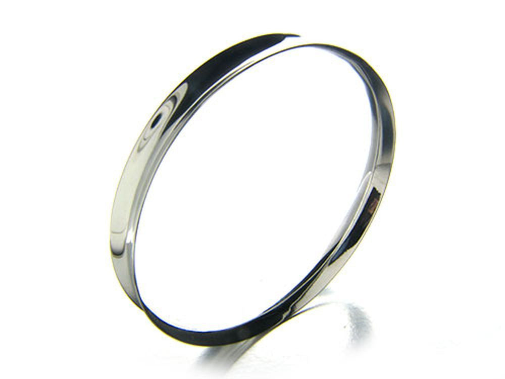 Inversed 8mm Plain Sterling Silver Bangle - Essentially Silver Jewelry