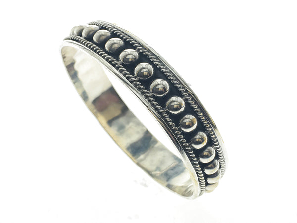 Ball Studded Rimmed Cast Sterling Silver Bangle - Essentially Silver Jewelry