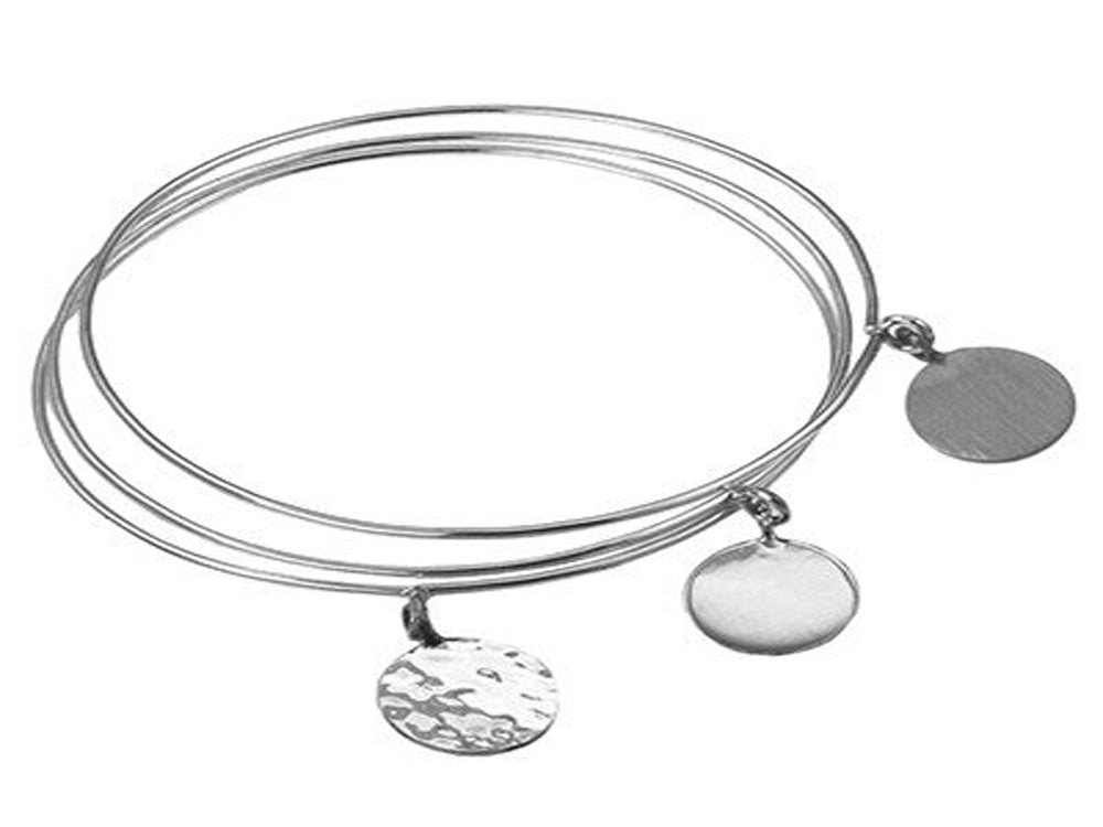 Triple Bangle Round Tag Sterling Silver Bangle