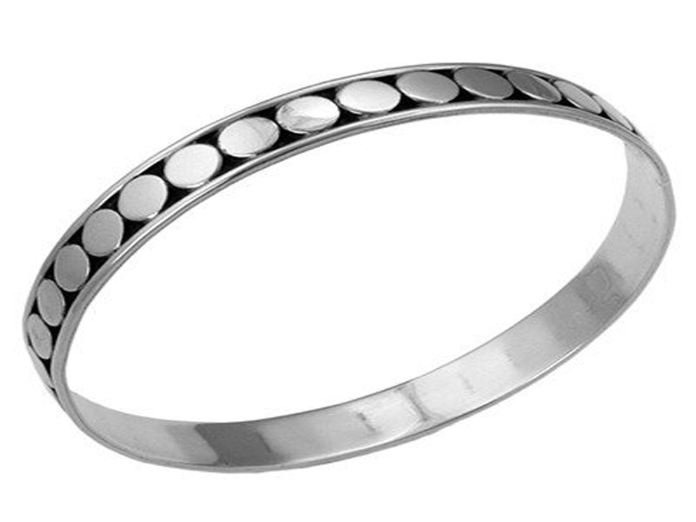 Round Silver Stamped Sterling Silver Bangle