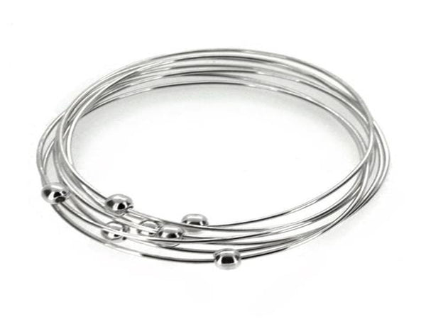 7 Ring Galaxy Ball Sterling Silver Bangle - Essentially Silver Jewelry