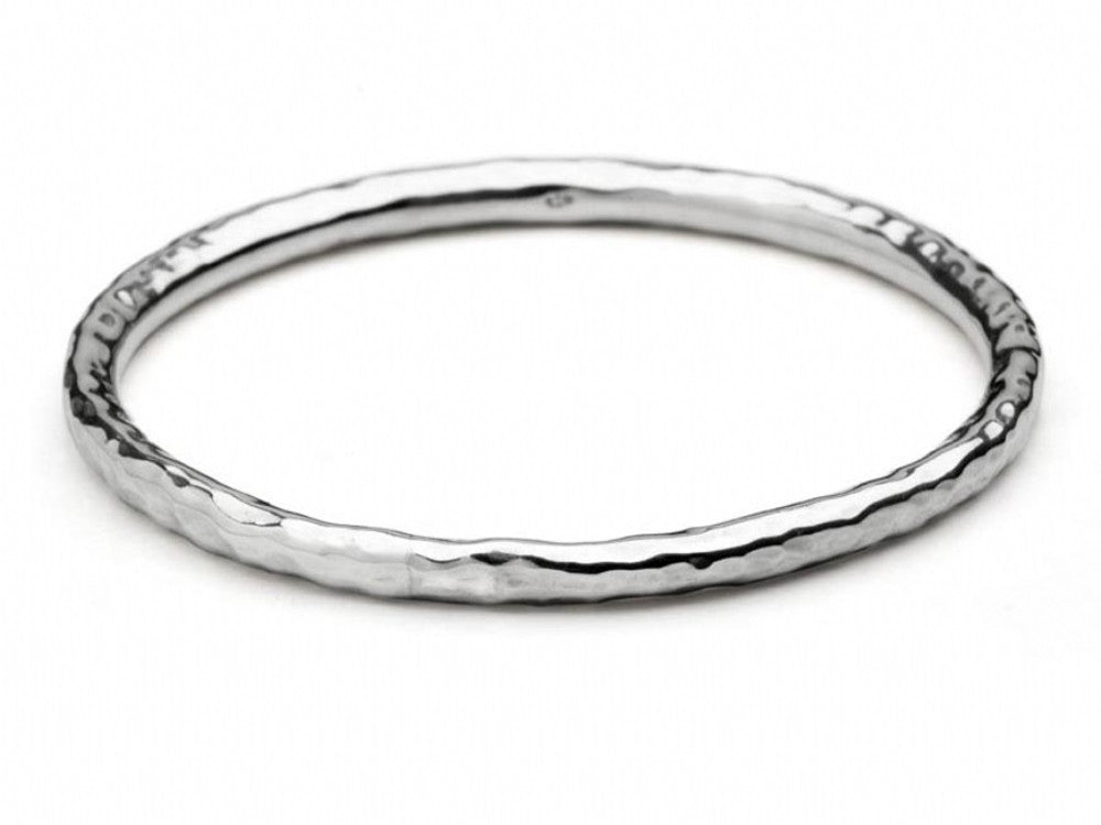 Beaten 5mm Round Sterling Silver Bangle - Essentially Silver Jewelry