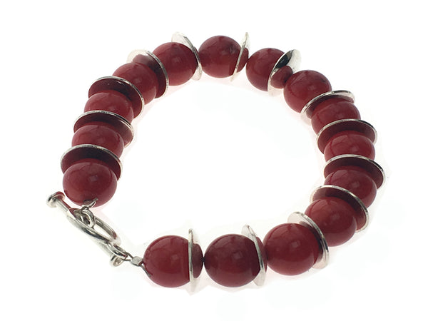 Red Bead Silver Cup Link Sterling Bracelet