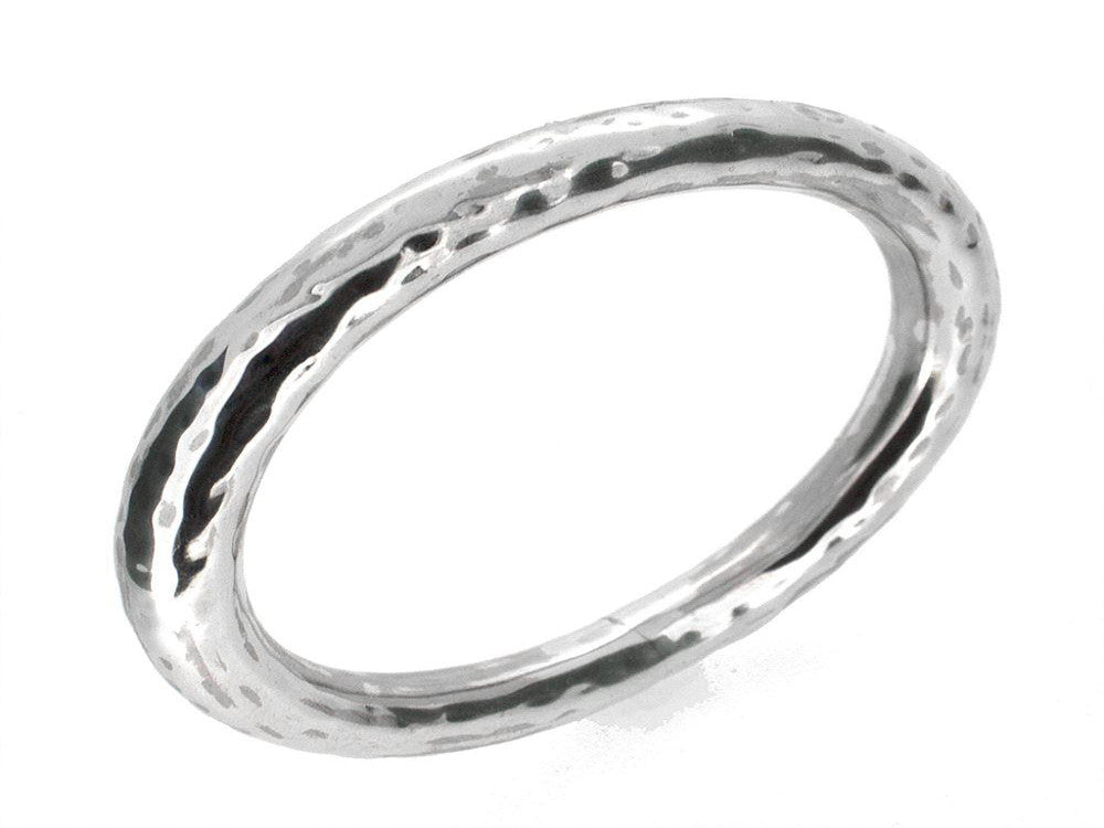 Beaten 10mm Oval Sterling Silver Bangle - Essentially Silver Jewelry