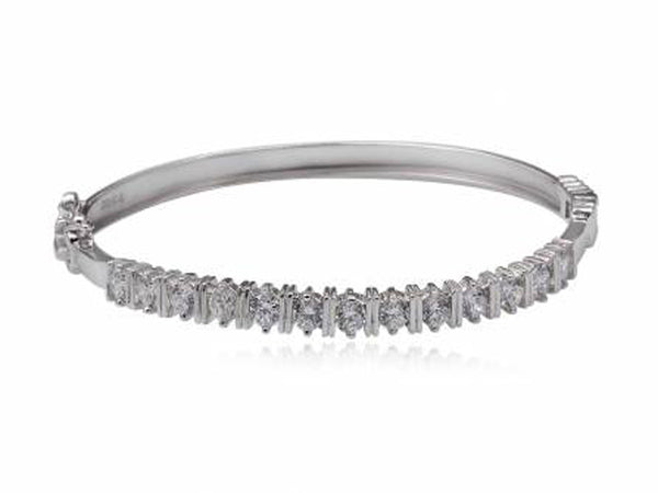 Cubic Zirconia Sterling Silver Hinged Bangle - Essentially Silver Jewelry