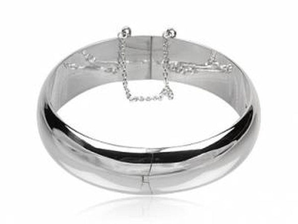Hinged 14mm Half Moon Sterling Silver Bangle