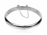 Hinged Half Moon 7mm Sterling Silver Bangle