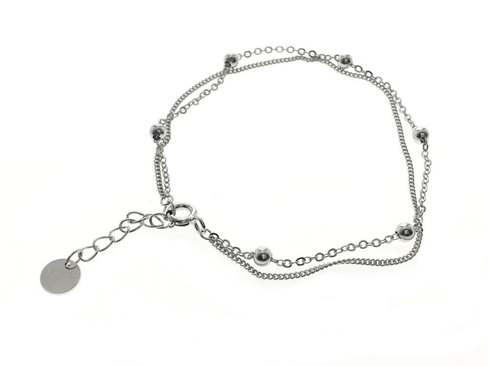 Double Layered Ball Sterling Silver Bracelet