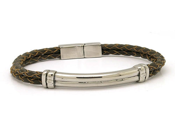 Leather & Stainless Steel Clasp Bracelet Brown