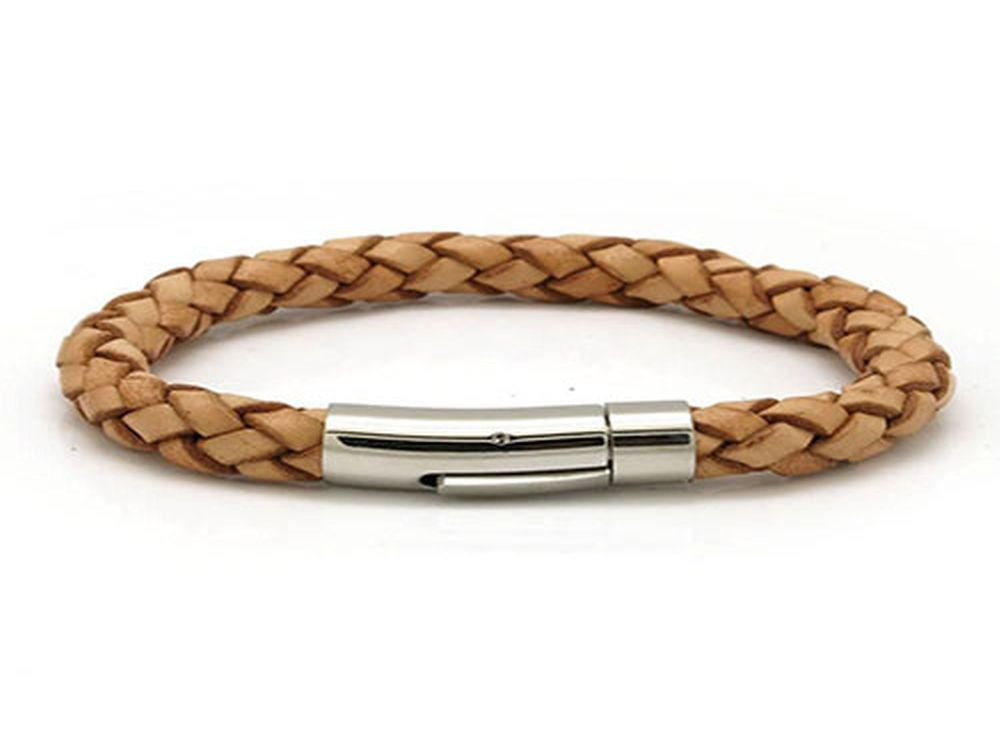 Leather & Stainless Steel Clasp Bracelet Tan