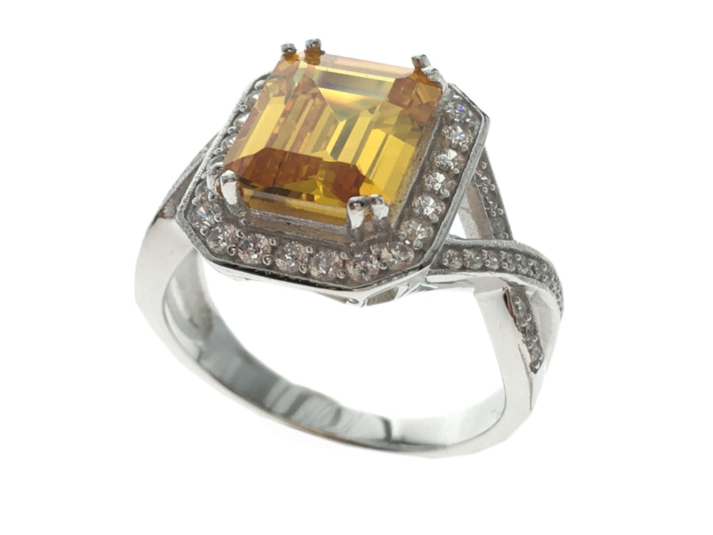 Yellow Cubic Zironia .925 Sterling Silver Ring - Essentially Silver Jewelry