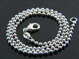 "Sterling Silver Plated Ball 2mm Chain Necklace (18"") - Essentially Silver Jewelry"
