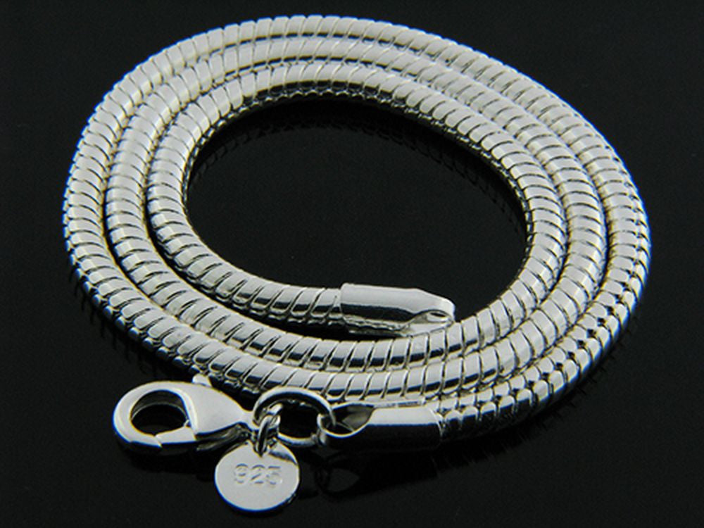 Sterling Silver Plated Snake 4.0mm Chain Necklace - Essentially Silver Jewelry