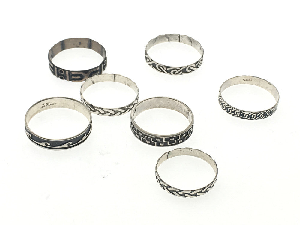 Oxidised Mini Sterling Silver Ring - Different designs - Essentially Silver Jewelry