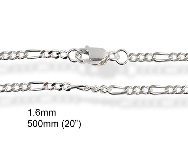 "Chain Figaro 1.6/500mm 20"" Sterling Silver Chain - Essentially Silver Jewelry"