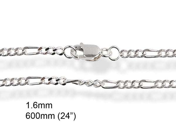"Chain Figaro 1.6/600mm 24"" Sterling Silver Chain - Essentially Silver Jewelry"