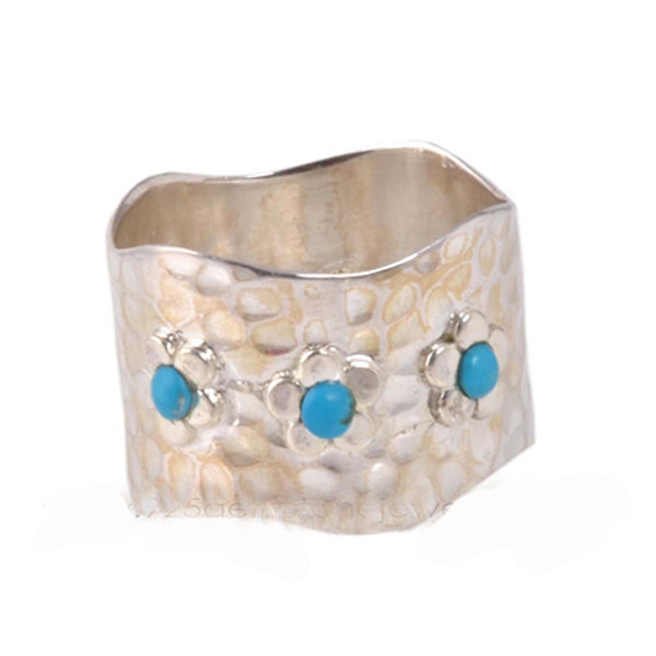 Sterling Silver Hammered Turquoise Ring
