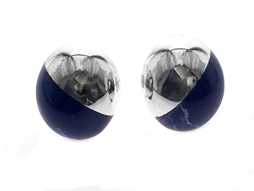 Lapis .925 Sterling Silver Stud Earrings - Essentially Silver Jewelry