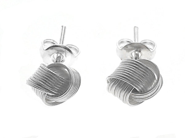 Knot 7mm Wire Sterling Silver Earrings - Essentially Silver Jewelry